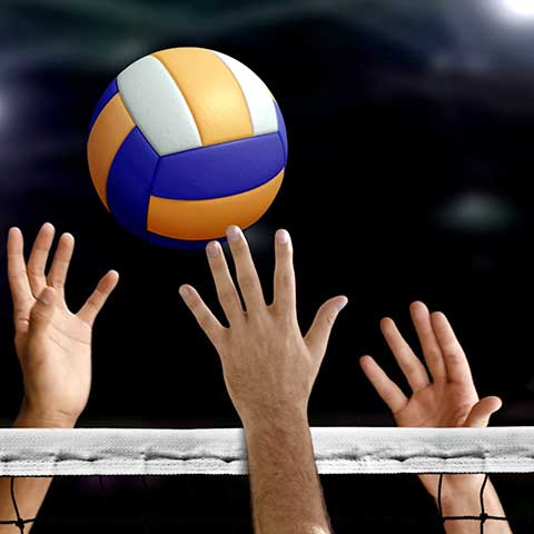 Volleyball, competitive, in gymnasium