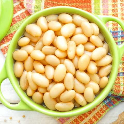 Beans, white, mature seeds, cooked, boiled, with salt