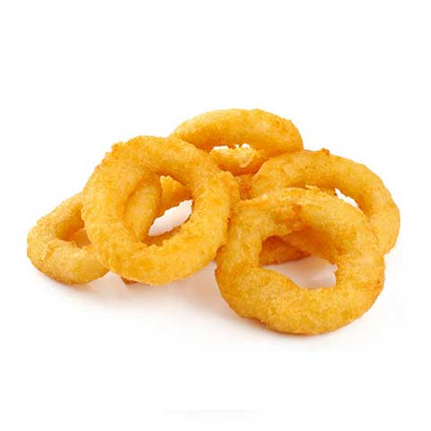 Fast foods, onion rings, breaded and fried